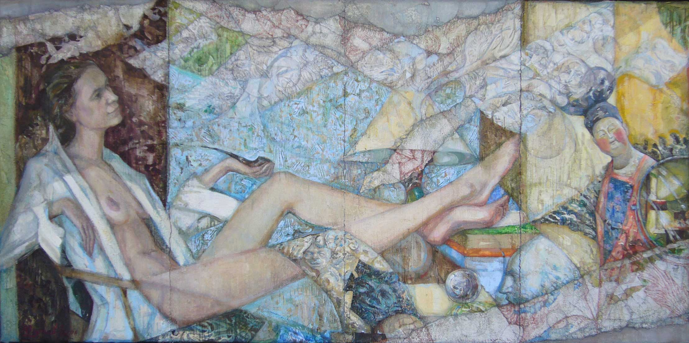 Young lady with a Pipe 2006 100x50