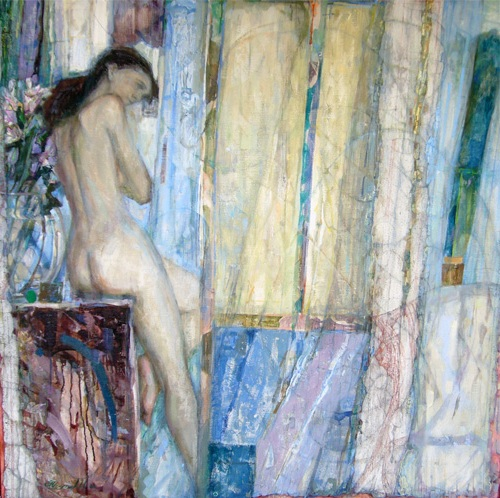 Model with a bouquet 2007 100x100