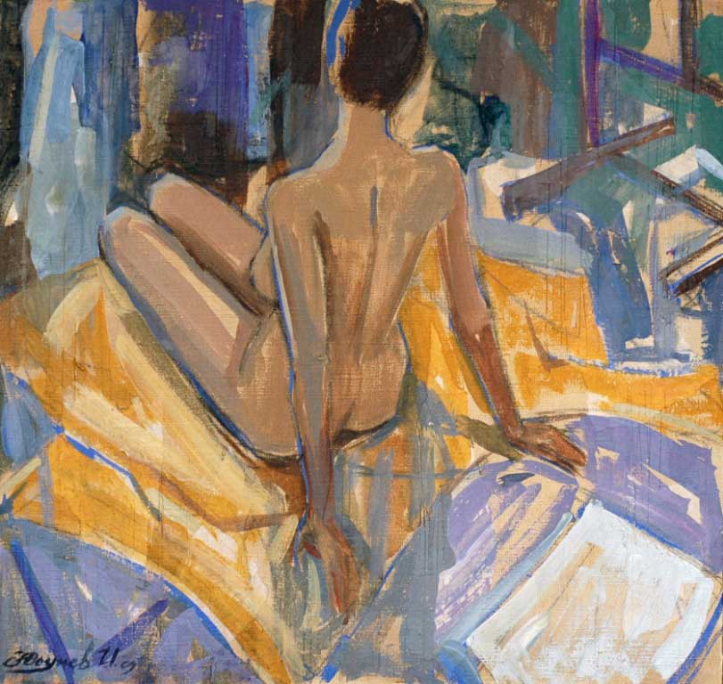 Nude on yellow 2009 50x50